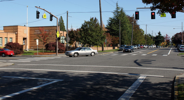 Vancouver & Rosa Parks: An unintentional(?) laboratory of crosswalk marking styles (Photo: Kirk Paulsen)