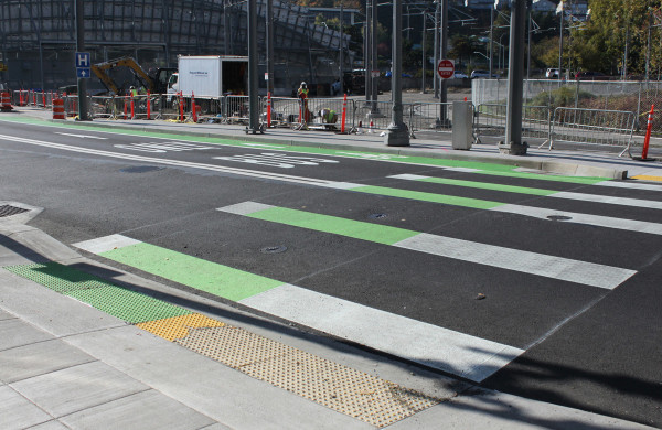 A crosswalk and a...? Crossride? Crosscycle? (Photo: Kirk Paulsen)