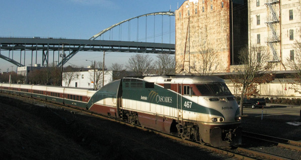 ODOT's Oregon Passenger Rail project seeks to find a long-term alignment for intercity rail service, such as the Amtrak Cascades train seen here, south of Portland.