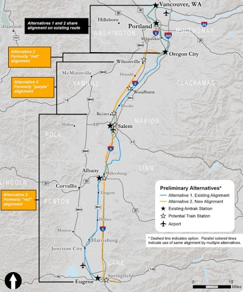 ODOT's two proposed alignments for intercity passenger rail service south of  Portland. Both will advance to the Draft Environmental Impact Statement, but ultimately only one will be selected for construction.